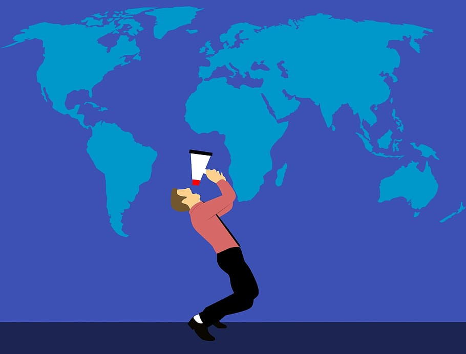 world map marketing megaphone man