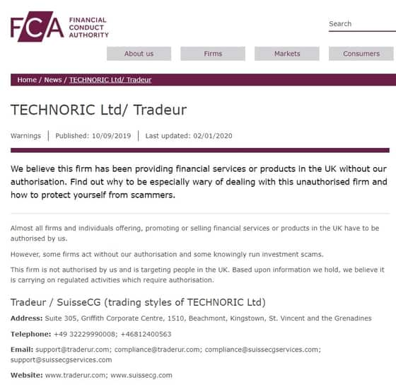 FCA warning SuisseECG Traderur