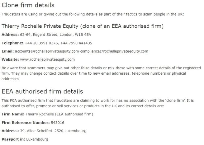 FCA warning against Thierry Rochelle Scam