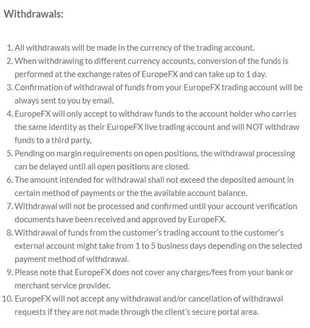 Europefx Withdrawal policy